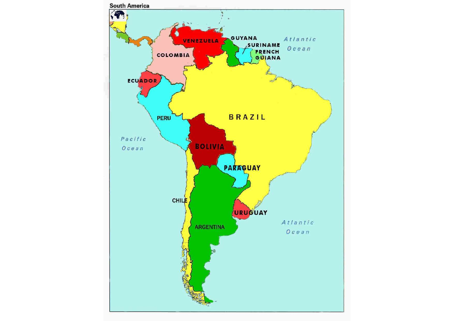 Map of South America with Countries