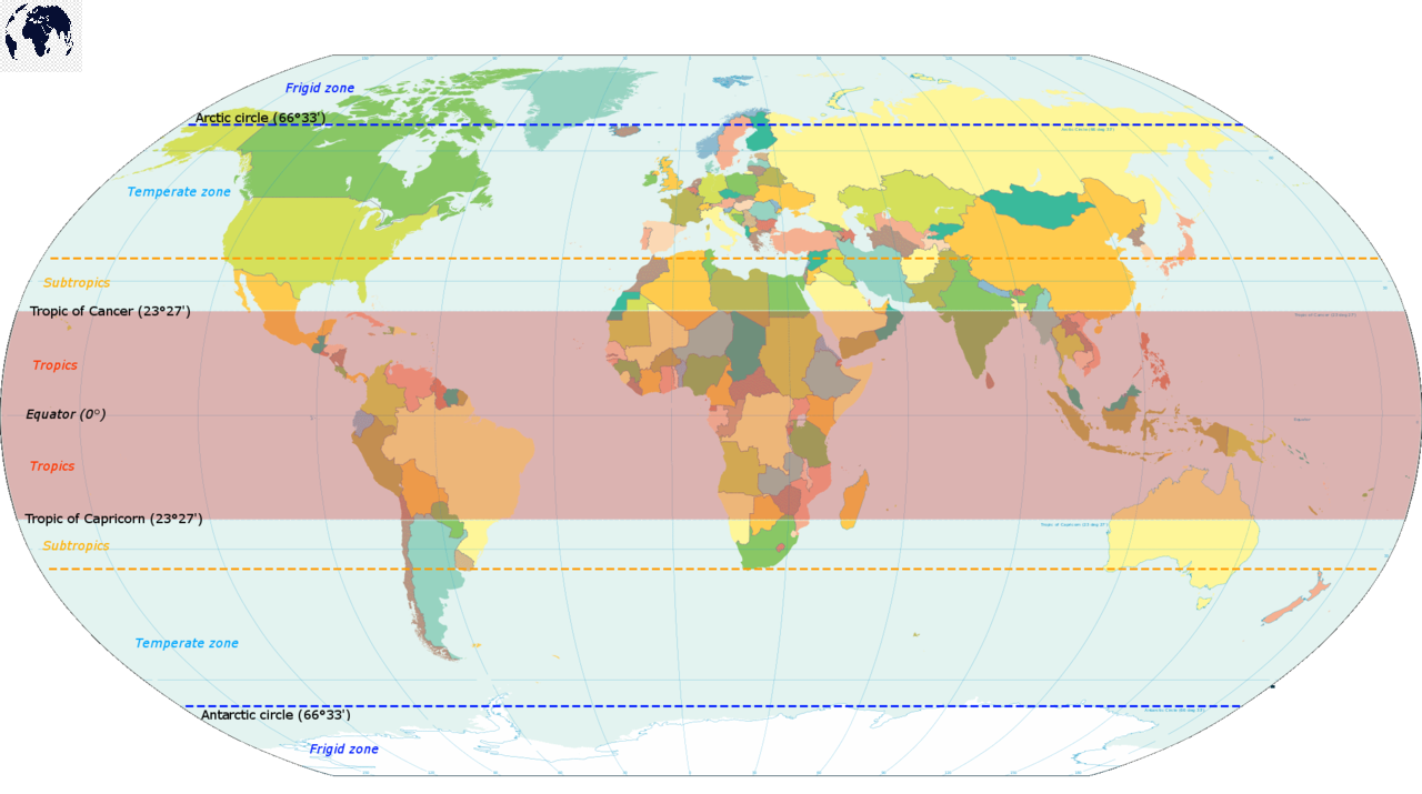 Map of World with Latitude