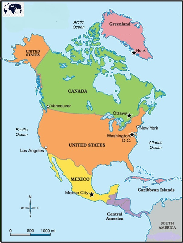 North America Map with Capitals Labeled