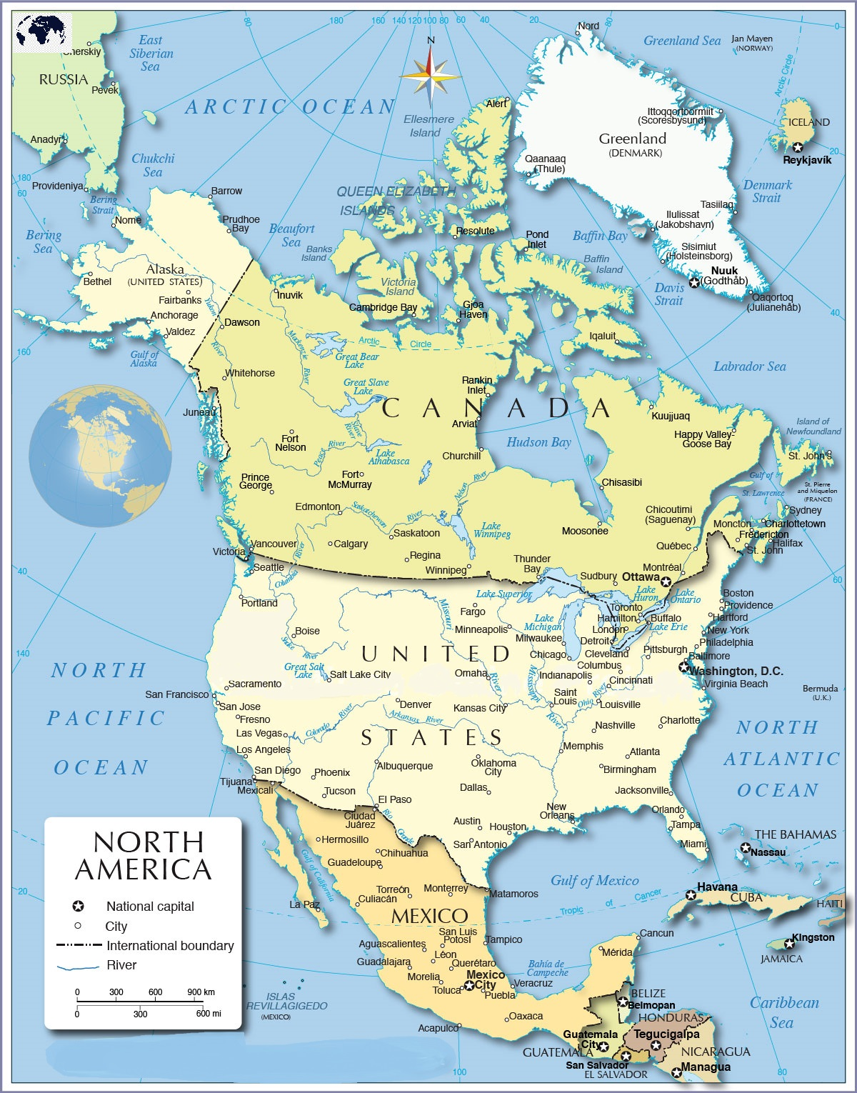 North America Map with Country Names
