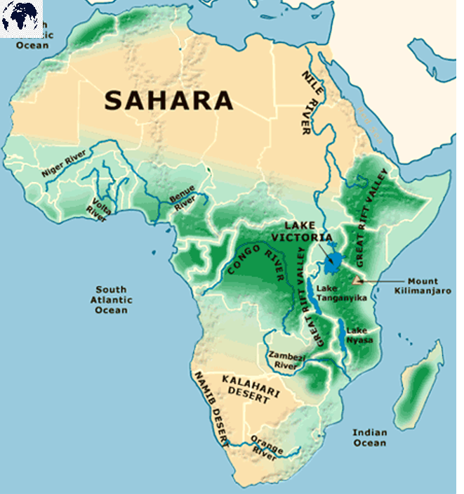 Physical Map of Africa labeled