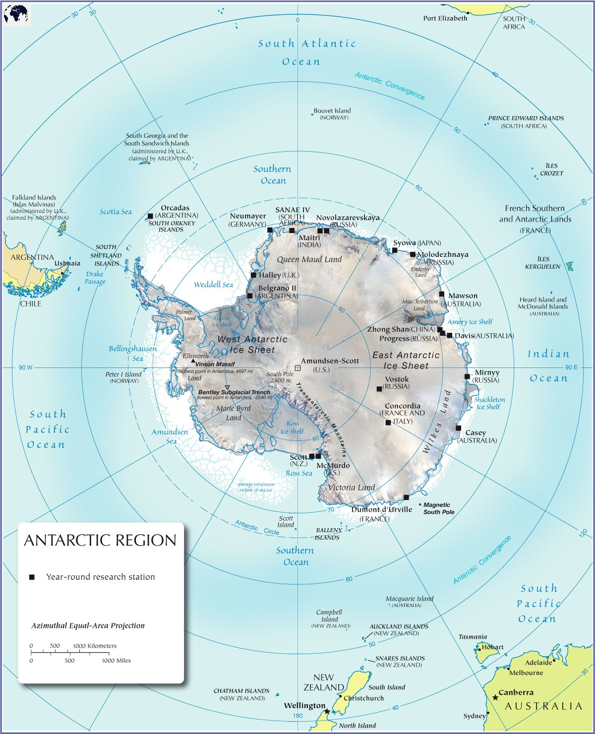 Physical Map of Antarctica labeled