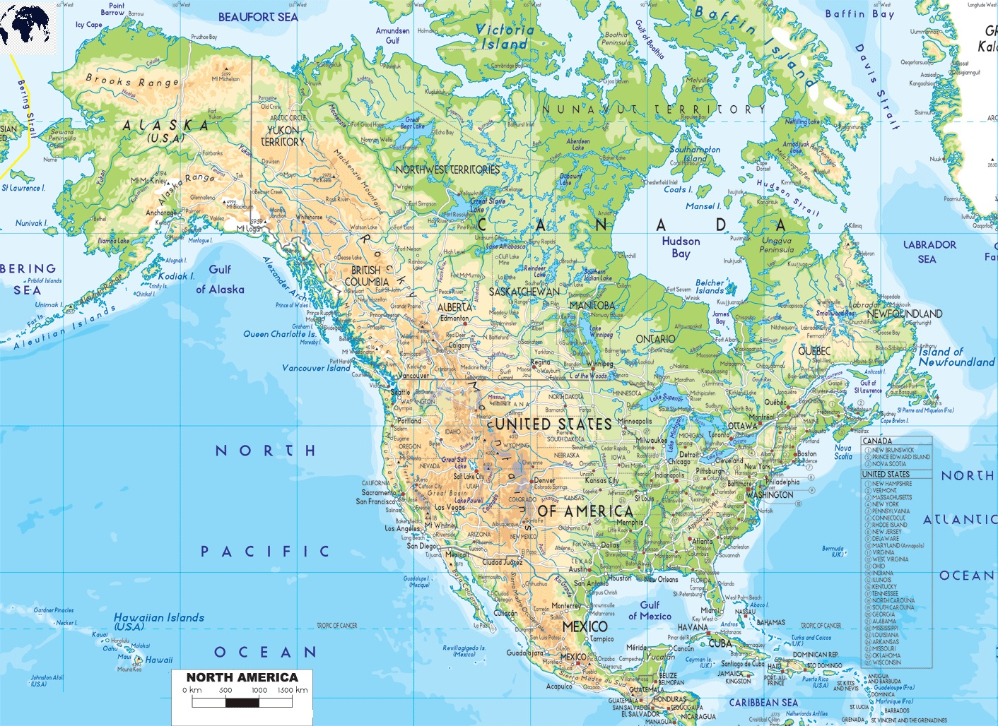 Physical Map of North America Labeled