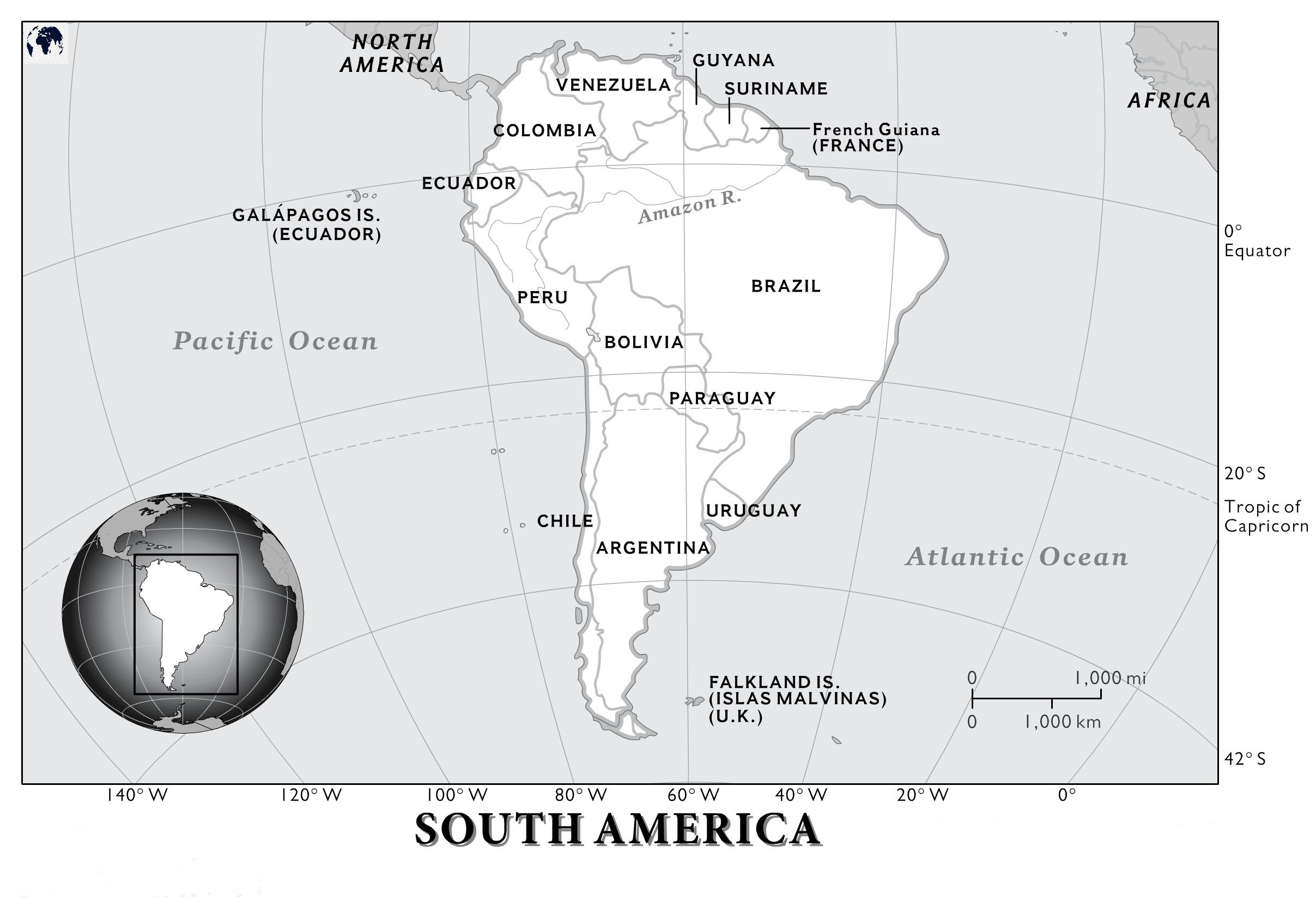 Physical Map of South America labeled