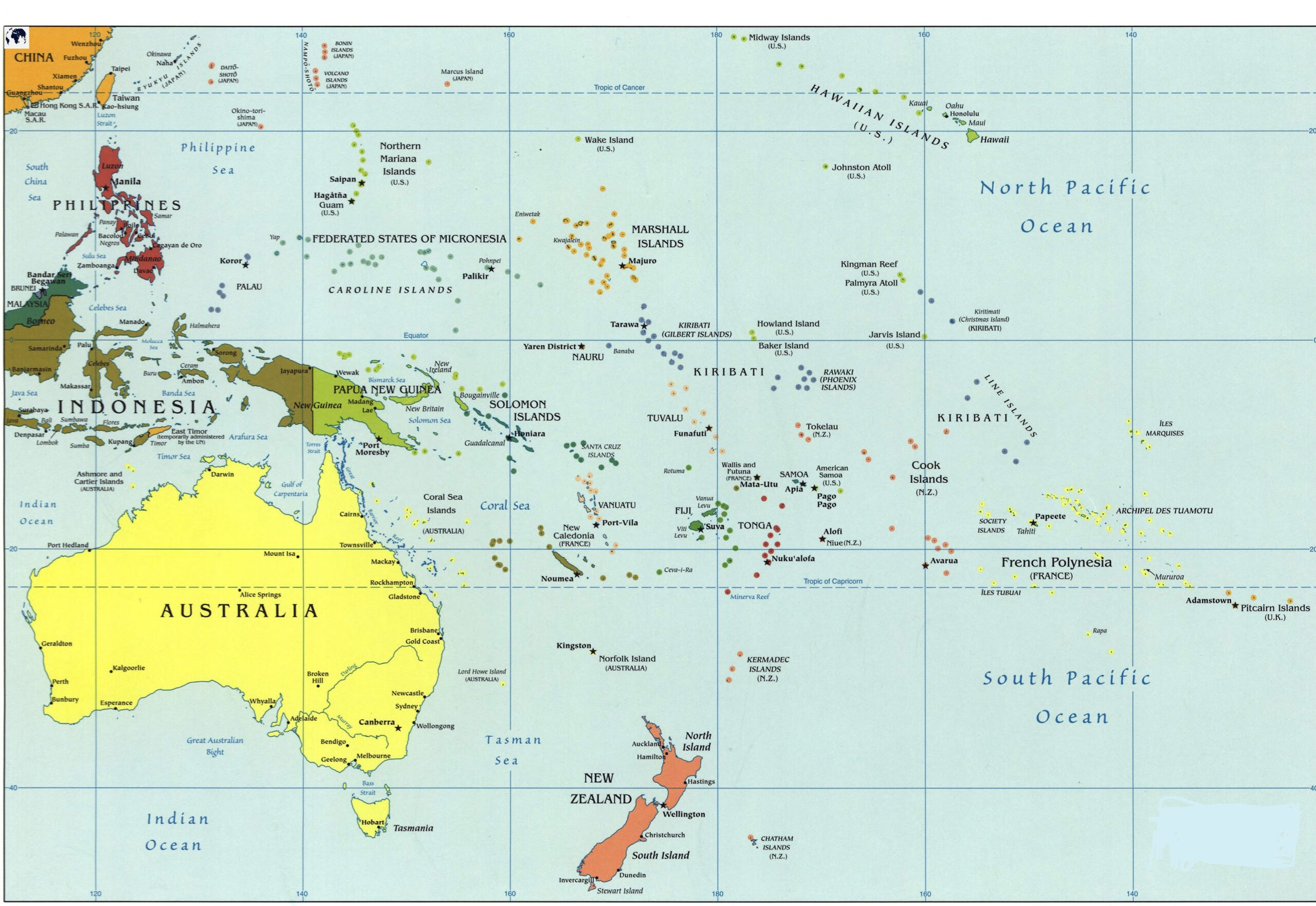 Political Oceania Map Labeled