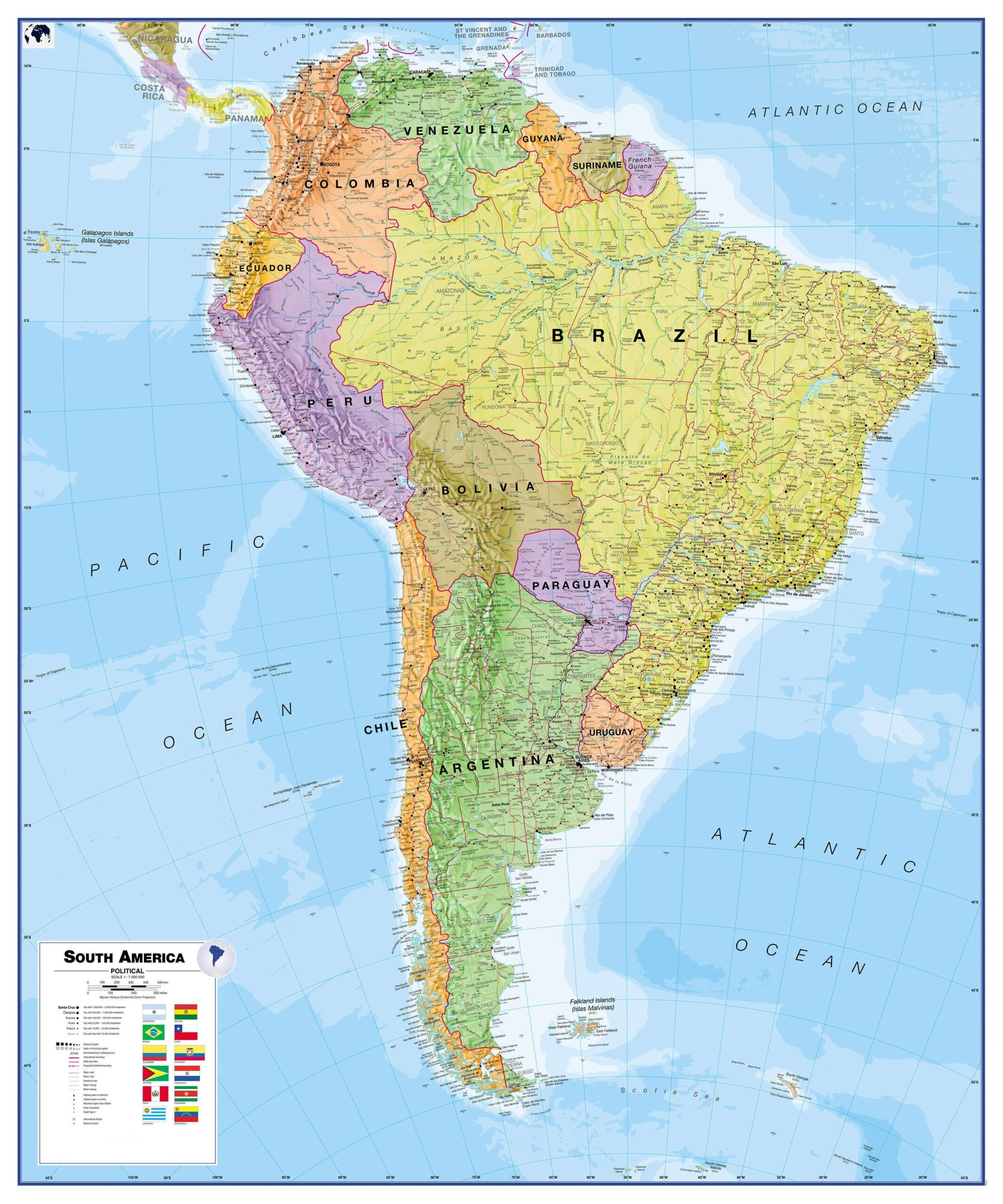 Political South America Map Labeled