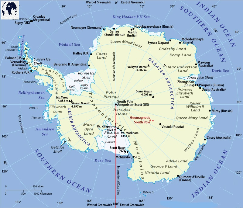 Printable Labeled Antarctica Map