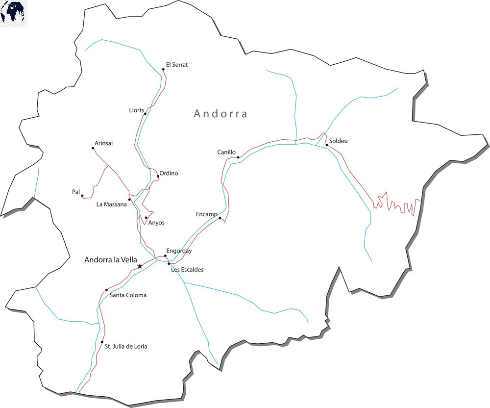 Printable Map of Andorra