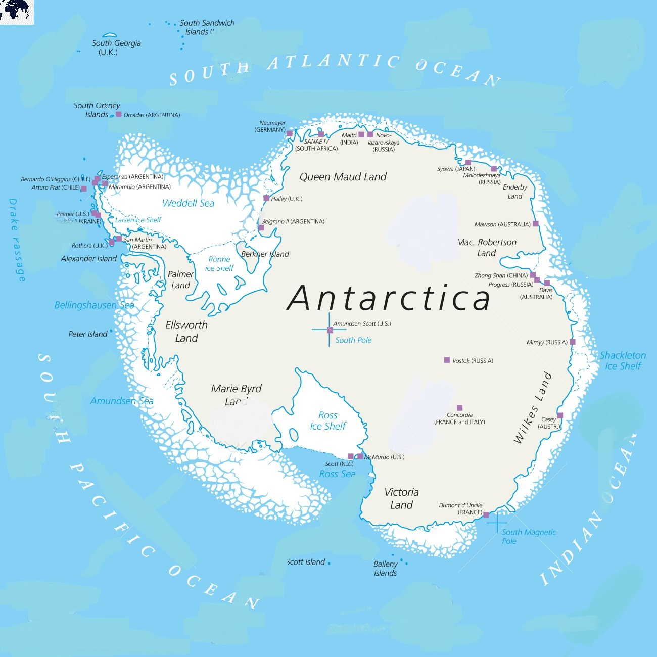 Printable Physical Antarctica Map with countries