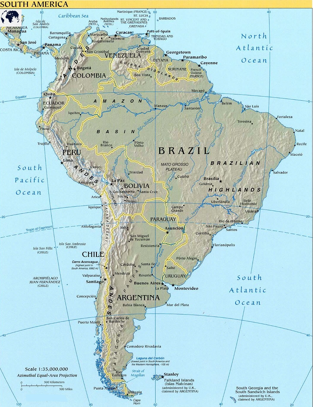Printable Physical South America Map with countries