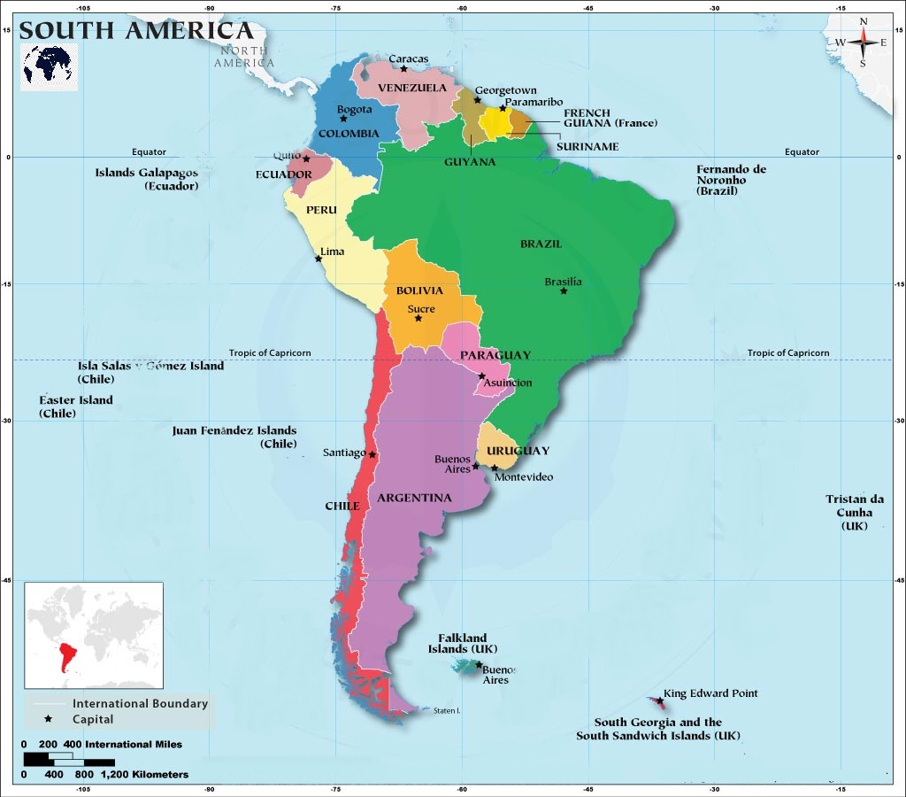 South America Map with Capitals Labeled