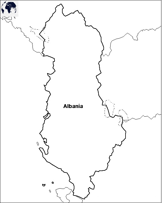 Transparent PNG Blank Albania Map