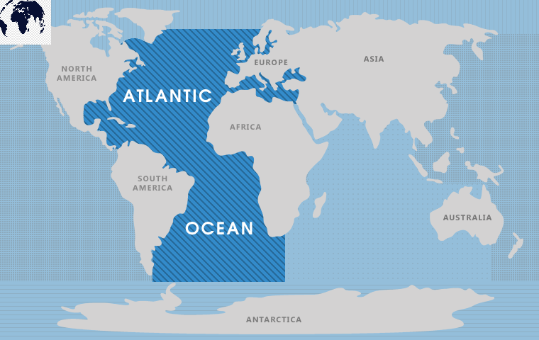World Map with the Atlantic Ocean