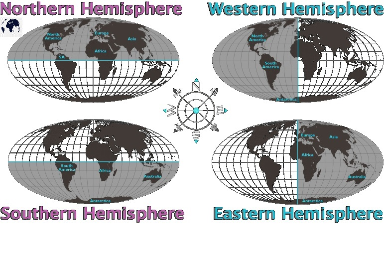 Blank World Map with Hemispheres