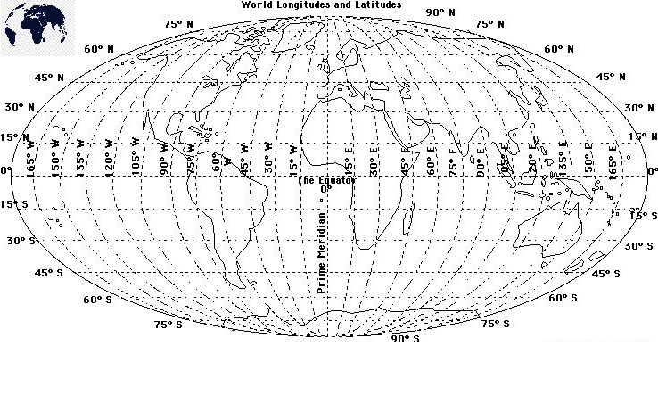 World Map with Longitude Degrees Coordinates