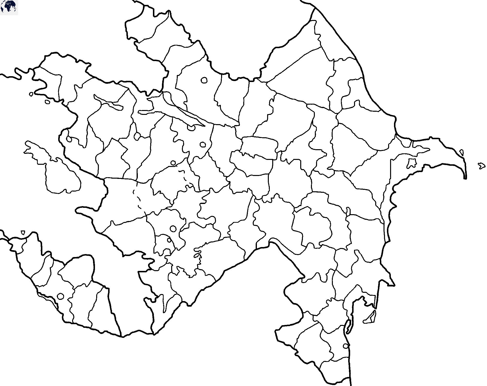 Map of Azerbaijan for Practice Worksheet
