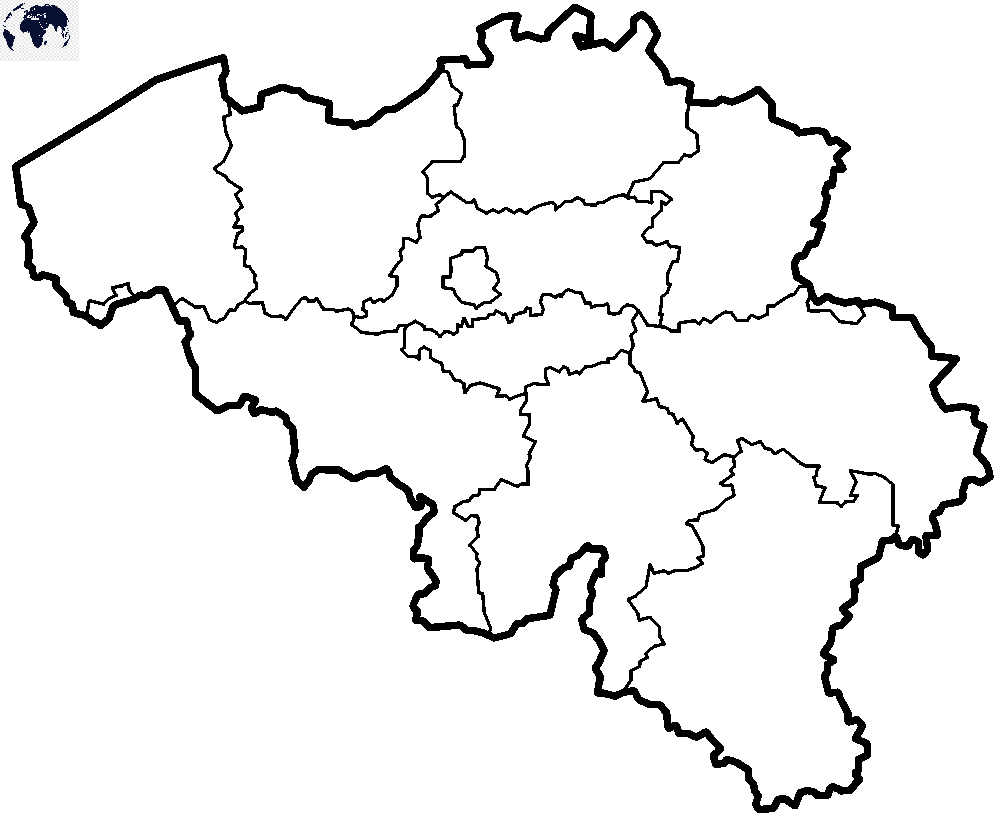 Map of Belgium for Practice Worksheet