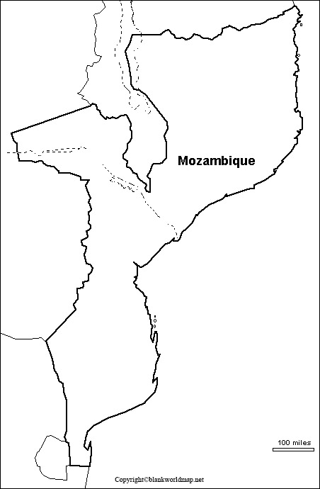 Map of Mozambique for Practice Worksheet