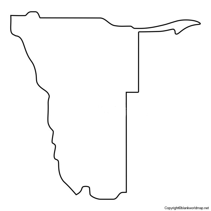 Map of Namibia for Practice Worksheet