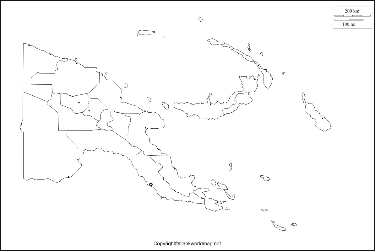 Map of Papua New Guinea for Practice Worksheet