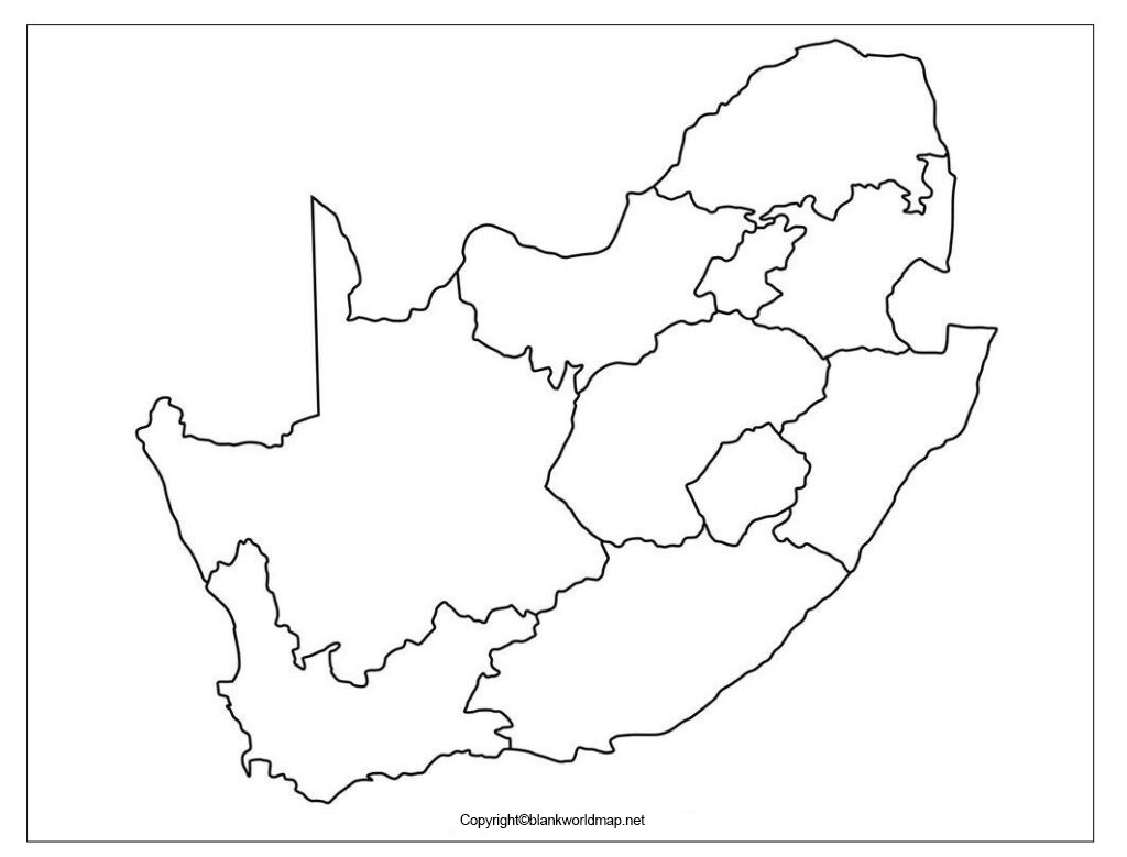 Map of South Africa for Practice Worksheet