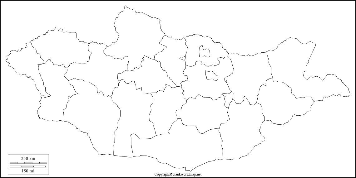 Mongolia Blank map Outline