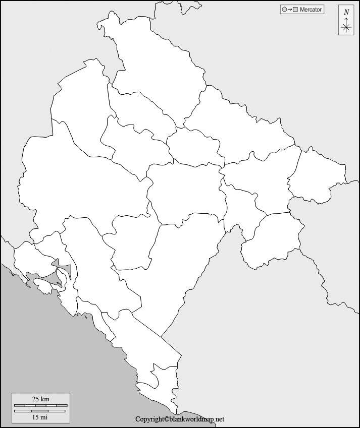 Montenegro Blank map Outline