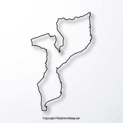 Blank Mozambique map Outline