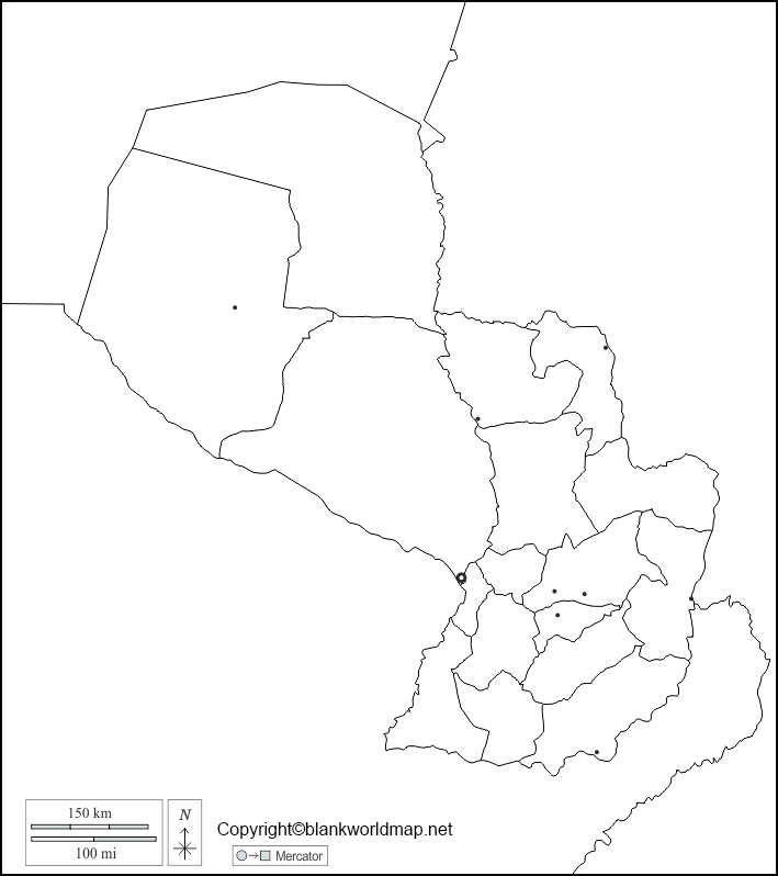 Printable Map of Paraguay