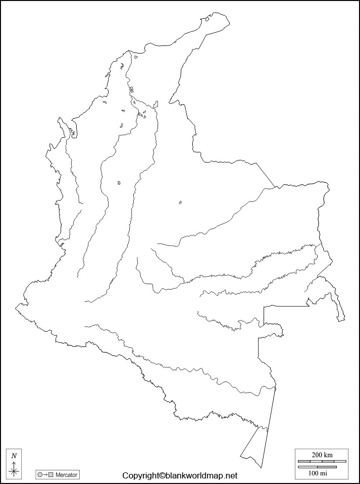 Colombia Blank Map Outline