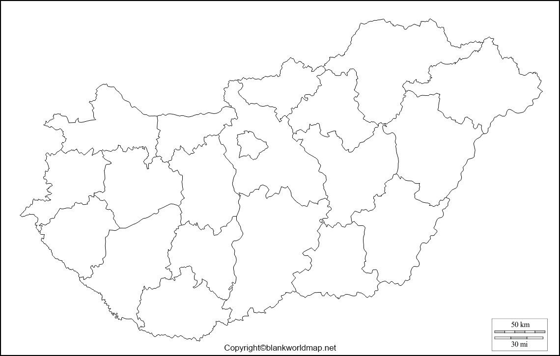 Blank Hungary Map - Outline