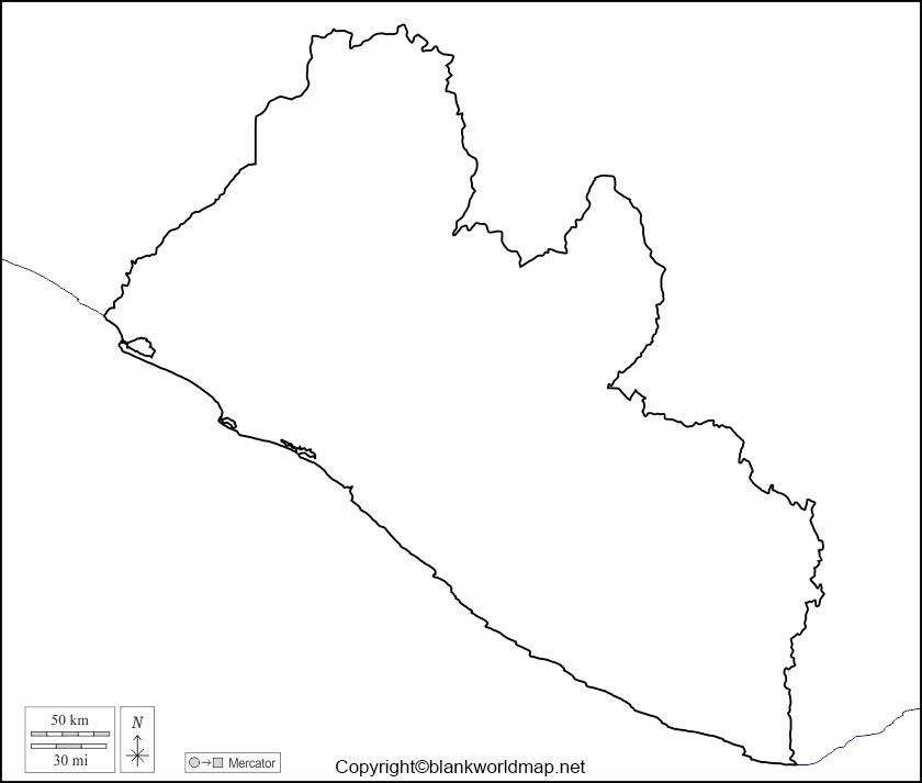 Liberia Blank Map Outline