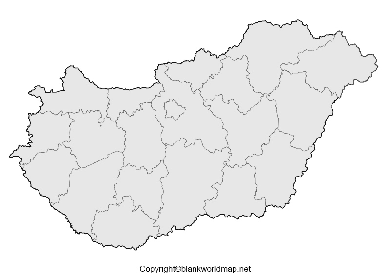 Map of Hungary for Practice Worksheet