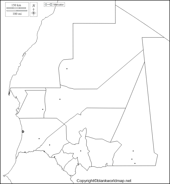 Map of Mauritania for Practice Worksheet