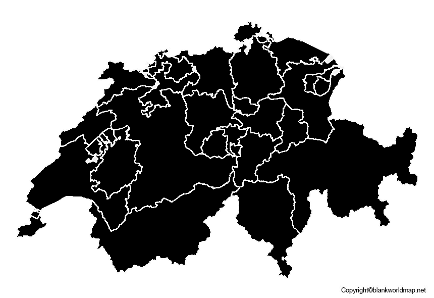 Map of Switzerland for Practice Worksheet