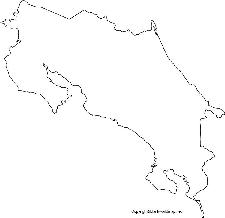 Costa Rica Blank Map Outline