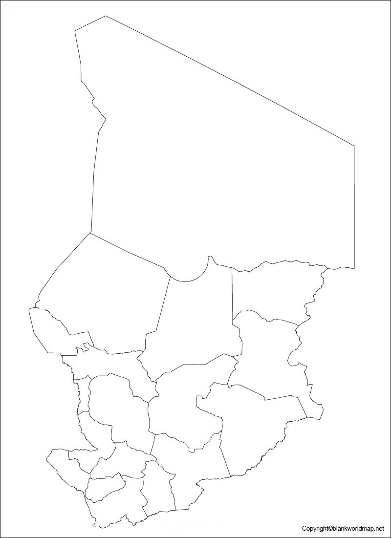 Map of Chad for Practice Worksheet
